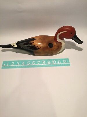 Vintage hand carved duck Made In Taiwan Red Head Heart On Tail