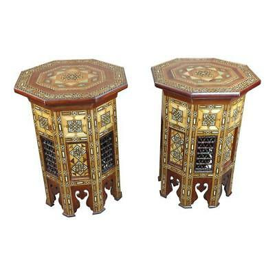 Syrian Beautiful Mother-of-Pearl Walnut Side Tables -A pair