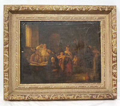 Antique Dutch European Continental Tavern Oil Painting on Canvas Old Master