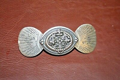 "Vintage Ornate 3.5"" Long Fancy French Silverplate Butterfly Barrette Hair Clip"