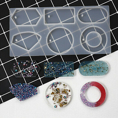 Silicone Mold Epoxy Resin Jewelry Sweater Chain Pendant Making Tool HoleBG