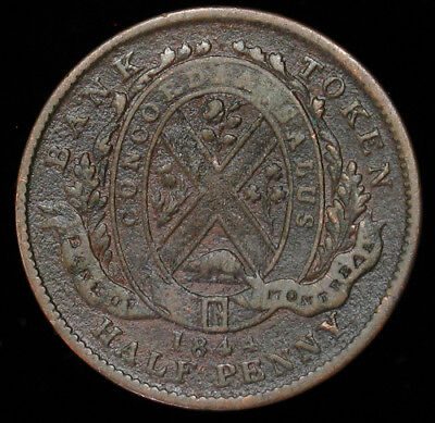 1844 Lower Canada Bank of Montreal Half 1/2 Penny Token KM# Tn18 high grade