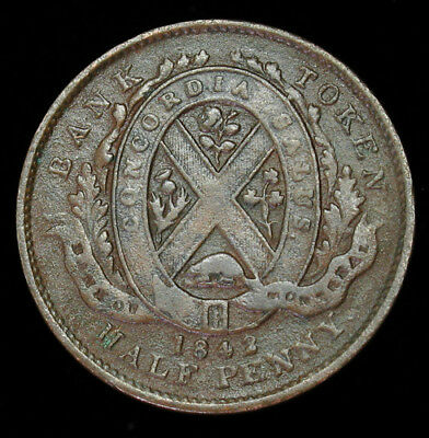1844 Lower Canada Bank of Montreal Half 1/2 Penny Token KM# Tn18
