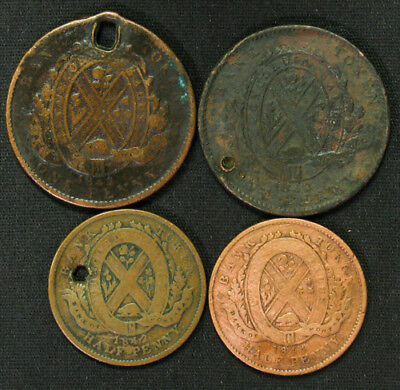 Lot of 4 Lower Canada Bank of Montreal Half & One Penny Tokens 1842 1844