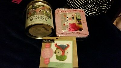 3 x New CROCHET KITS Bunting, Mouse & Owl Perfect Beginners. Free Post