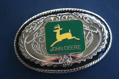 John Deer Classic Buckle With Porcelain Logo On Bright Buckle