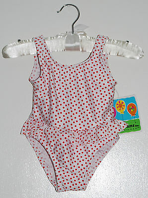 NWT Baby Buns Infant Girls One-Piece White With Red Micro Dots Swimsuit 24M