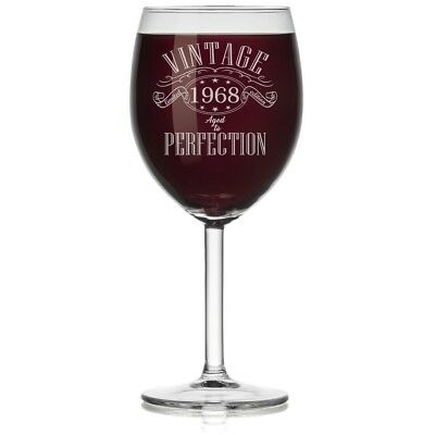 (Stemmed, 300ml) - Wine Glass 1968 Vintage Perfection 50th Birthday Limited