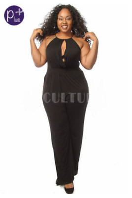 b47ad3809af Plus Size Sleeveless OLIVE Only Key Hole Wide Leg Jumpsuit Catsuit 1X 2X 3X