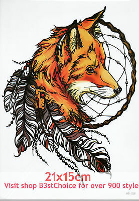 UK Fox feathers 21X15CM Half Sleeve Temporary Tattoo ARM BACK