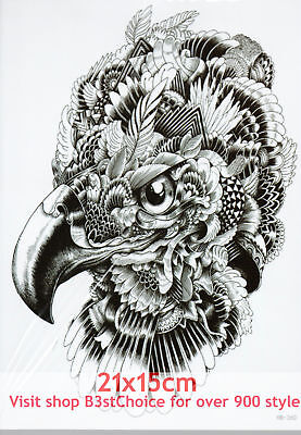 UK Pretty feathers of the young eagle 21X15CM Half Sleeve Temporary Tattoo