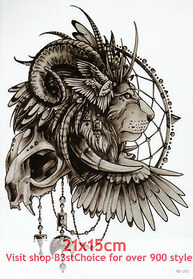 UK 21X15CM Lion skull feather wings Half Sleeve Temporary Tattoo ARM BACK