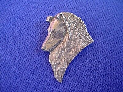 Rough coated Collie Head Pin #67A Pewter Herding dog jewelry by Cindy A. Conter