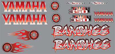 Banshee yamaha Decals RED Full Color Stickers Graphics 14pc ATV QUAD flames