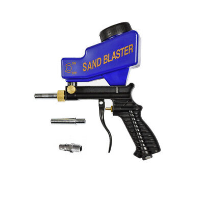 Portable Sand Blaster Gravity Feed Gun Media Etching Surface Cleaning Extra Tip