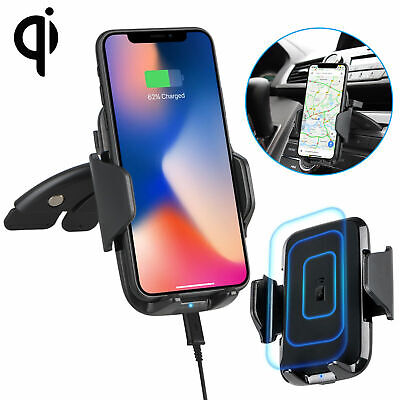 Fast Qi Wireless Car Charger CD Slot Mount Holder for Samsung S9 Plus iPhone X 8