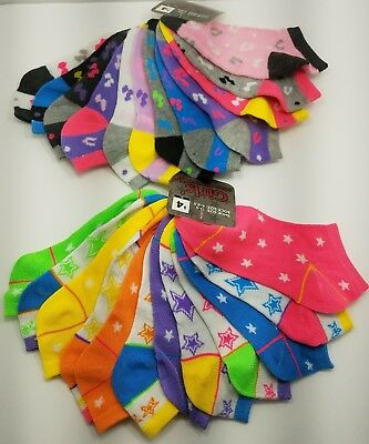 12 Pairs of Girl's 6 pack All Mixed Up Socks Size 6-8.5