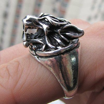 Cool Exquisite Vintage Tribal Tibet silver carved Tiger's head ring Size 8