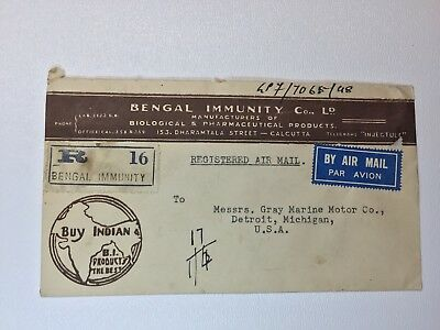 India Reg Airmail advertising cover Buy Indian Bengal Immunity 162 169 177 178