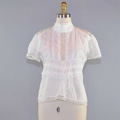 Women's White Lace Blouse Eyelet Ruffle Short Sleeve Victorian Style Cutout Sz S