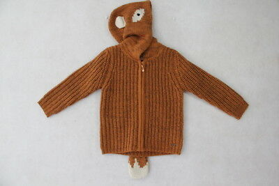 Baby Boy Size 00,1,18M,2 Fox & Finch Winter Rusty Knit Jacket With Hood NWT