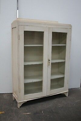 Vintage White Painted Dentist Display Cabinet Glass Cupboard Art Deco Antique