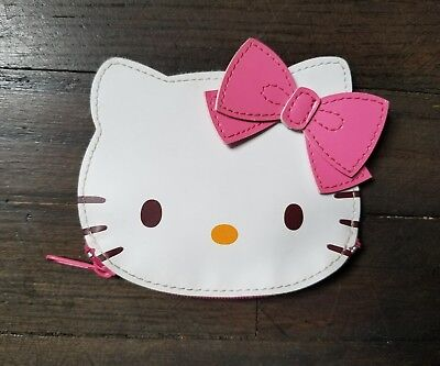 Pre-Owned Hello Kitty Face Shape Coin Purse Wallet Bag Japan W Free Shipping