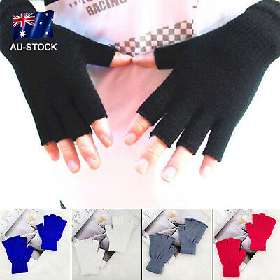 AU STOCK 1Pair Fingerless Gloves Unisex Warm Stretch Half Finger Gloves Mittens