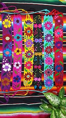 MEXICAN 100% HANDMADE EMBROIDED BELT Flowers Wide Corset NEW From Chiapas Mexico