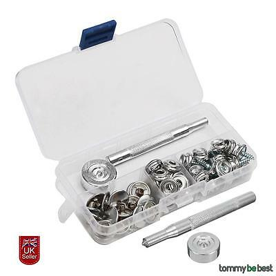 62pcs 15mm Snap Fastener Kit Canvas To Screw Press Poppers Boat Canopy Stainless