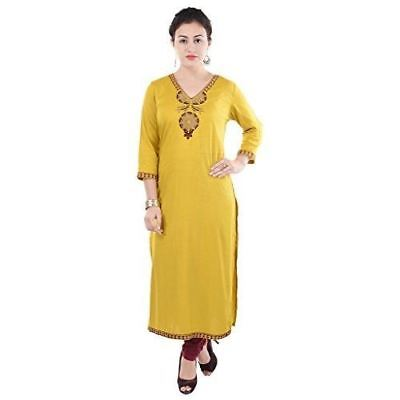 Women Yellow Color Embroidered Rayon Kurti ML619
