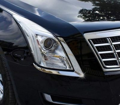 Stainless Front Headlight Eyebrow Cover Trim For Cadillac XTS 2015- 2017