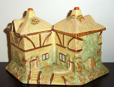 Art Deco Kensington Burslem Staffs England Cottage Ware Double Preserve Jam Pots