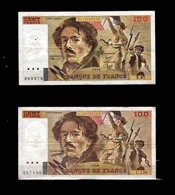 France 100 Francs 100 F 1978-1995 ''Delacroix'' 1990 Excellent LOT X 2 psc  n1