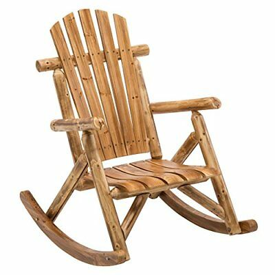 Antique Wood Outdoor Accent Armrest Log Rocking Chair Cabin Rustic Porch Rocker