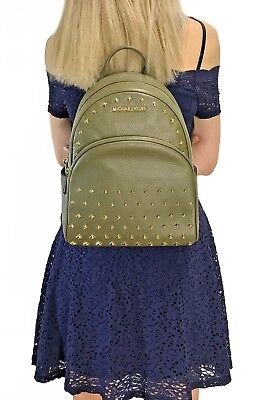 7c1eae78f MICHAEL KORS ABBEY Medium Studded Backpack Leather Olive - $125.95 ...