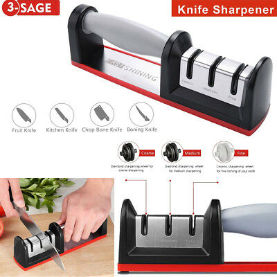 Profi 3 Stufen Küche Messerschleifer Messerschärfer Knife Sharpener Abziehstein