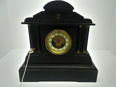 "Antique French Black Marble Slate Mantel Clock 15"" Wide 15"" Tall Cherubs Theme"