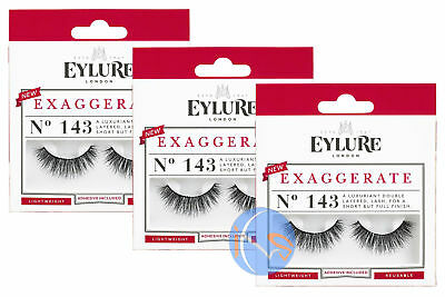 7fa38c3b5c9 3 x Eylure Exaggerate no.143 réutilisable léger Faux cils inclus Colle