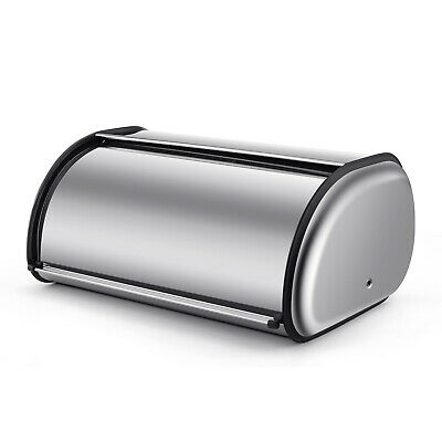 Stainless Steel Bread Box Holder (17 inch) Roll Up Top Lid Bread Bin Container