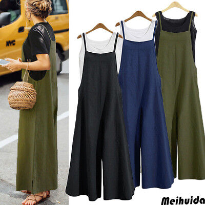 STOCK Women Cotton Overalls Jumpsuit Strap Rompers Dungaree Oversized Trousers
