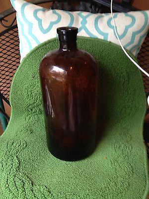"vintage 13.5""  amber, brown , glass bottle. apothecary,medicine bottle"