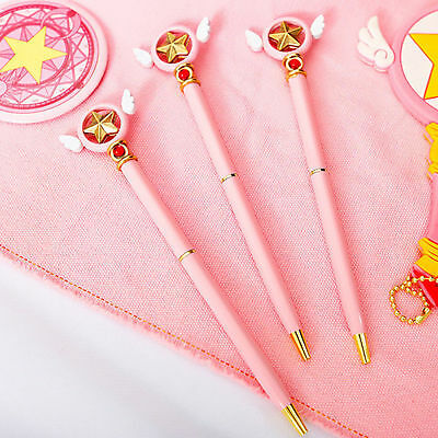 Anime Cards Captor Sakura Star Wing Magic Pink Ballpoint Pens Stationery Gift