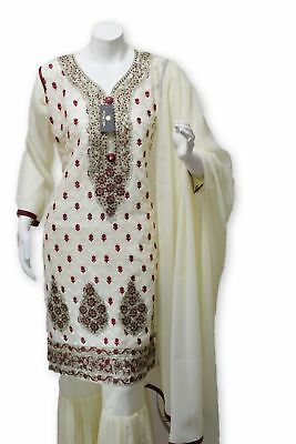 Party Wear Chiffon Dress With Gharara Pants Pakistani Indian Styles
