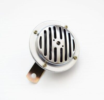 Electromagnetic Klaxon Horn Chrome Grille 90mm Motorbike Bike Motorcycle Chopper