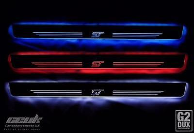 ford fiesta ST illuinated kick plate/ sill plate red, blue and white