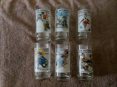Saturday Evening Post Set of 6 Glass Drinking Glasses