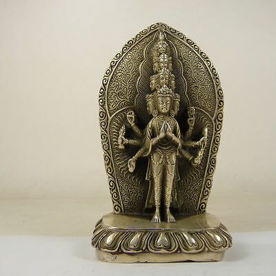 old copper Tibet-silver carved Avalokitesvara bring good luck statue