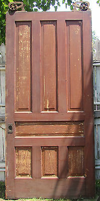 Late 1800's Large 7 Panel Pine Pocket Door Ives Rollers Victorian Hardware
