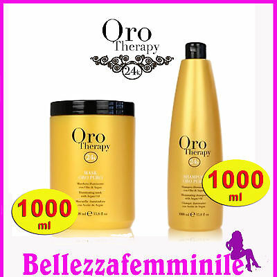 Kit Fanola Shampoo 1000ml + Maschera 1000 ml ORO THERAPY gold illuminating